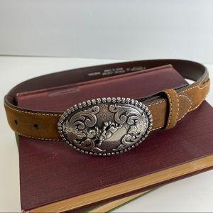 Nocona Leather Western Belt & Buckle Size 26